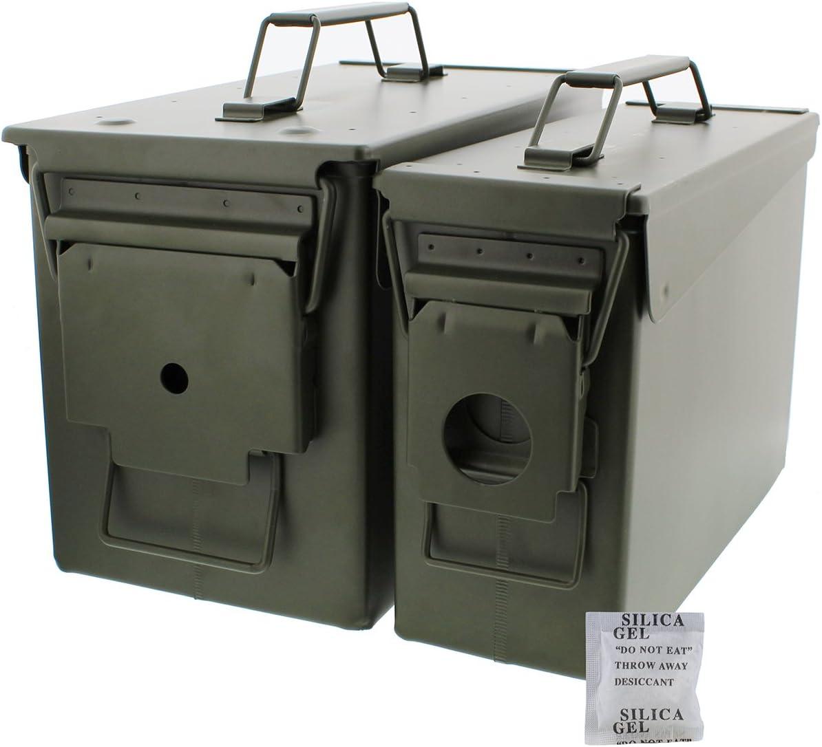 30 y 50 Cal metal munición puede 2-Pack – Militar ejército caja sólida de soporte de acero Set para A Largo Plazo escopeta Rifle munición almacenamiento: Amazon.es: Deportes y aire libre