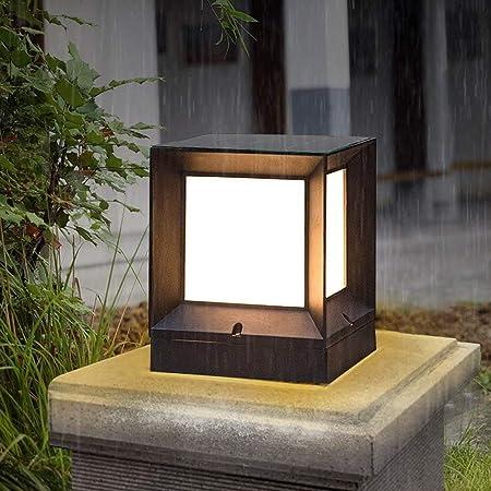 WHYA Retro Europeo IP55 Impermeable E27 Aluminio jardín Paisaje césped Luces Exterior Linterna de Vidrio Mesa luz Columna Columna Villa Puerta Poste Valla Pilar Calle Patio luz de Entrada: Amazon.es: Hogar