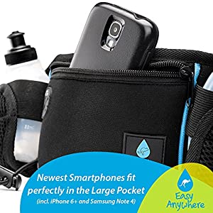 Hydration Running Belt - Extra Large Pocket - With 2 Bpa-free Water Bottles - Fits Large Smartphones, Including Iphone 6 Plus - Bounce Free Running Belt - Extra Pouch for Essentials