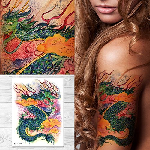 Supperb Temporary Tattoos - Gorgeous Green Dragon in Clouds, Dragon Temporary ()