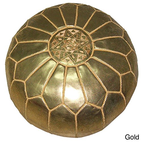 Moroccan Pouf Gold, Authentic. Hand-crafted By Moroccan Artisans. Fair-trade, Leather, Worldstock, Moroccan Leather Pouf, Gold Moroccan Floor Pillows by OS