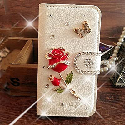 S7 Edge Case,Elegant Red Rose Bling Crystal White PU Wallet Leather case for Samsung Galaxy S7 Edge