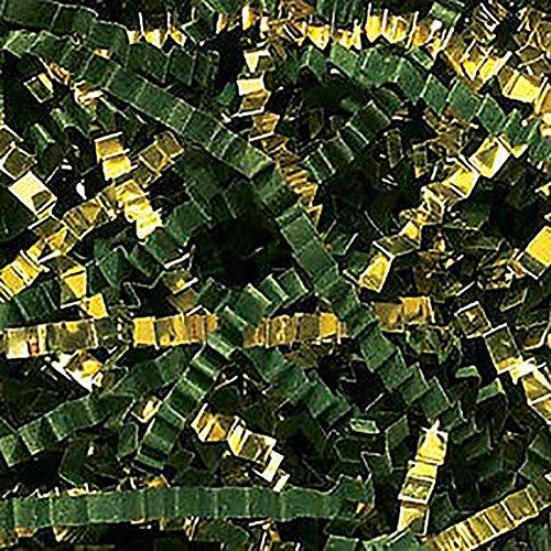 Custom & Unique {12 Ounces} of Crinkle Cut Shredded Gift Basket Filler Paper Made From Cardstock w/ Elegant Metallic & Matte Forest Tone Mix Festive Christmas Grass Scatter Design (Dark Green & Gold) -