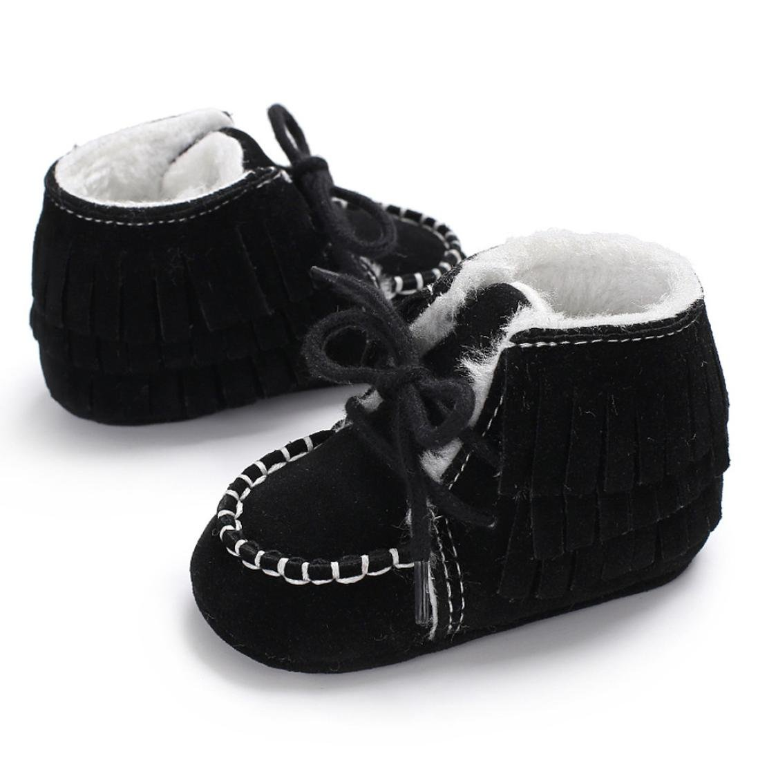 Snow Boots AMA TM Toddler Newborn Baby Soft Booties Warm Sole Crib Winter Shoes 0~6 Months, Black