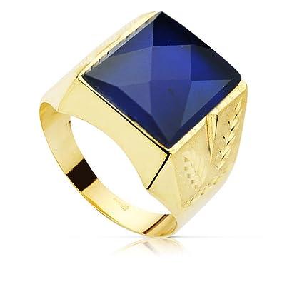 7d3596c22a93 Sello oro 18k caballero piedra 14x12mm espinela azul tallado  AB8748    Amazon.es  Joyería