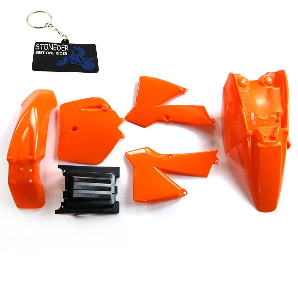 stoneder orange Kunststoff Fender Verkleidung Kit fü r KTM50  1997– 2010/50  SX 2003– 2008/50  SX Junior 2003– 2008/50  SX Mini 2008/50  Mini Adventure 2003– 2007/50  Senior Adventure 2003– 2