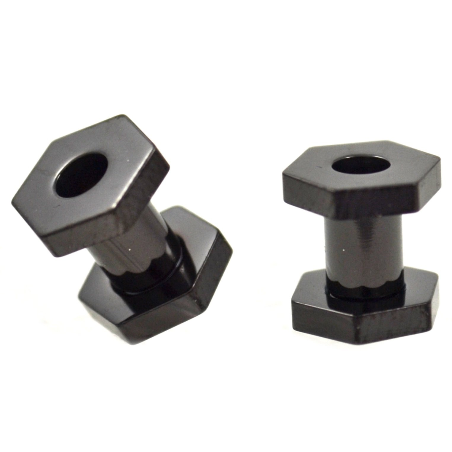 Pair of All Black Titanium Plated Hexagon Shaped End Ear Plugs Tunnels Screw Fit Gauges - 6G (4mm)