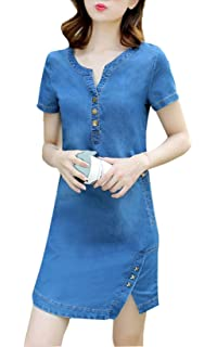 f5c4fdb97ab0f2 OMUUTR Damen Sommer Jeanskleid Minikleid V-Ausschnitt Kurzarm Teilt Slim  Denim Blusenkleid A Linie Jeans