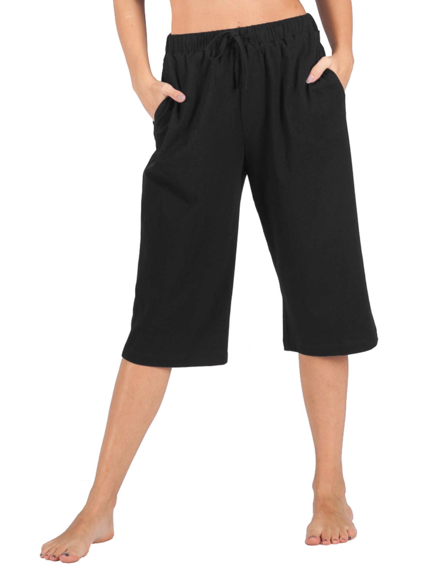 WEWINK CUKOO 100% Cotton Women Pajama Capri Pants Lounge Pants Pockets Sleepwear (XXL=US 20-22, Black)