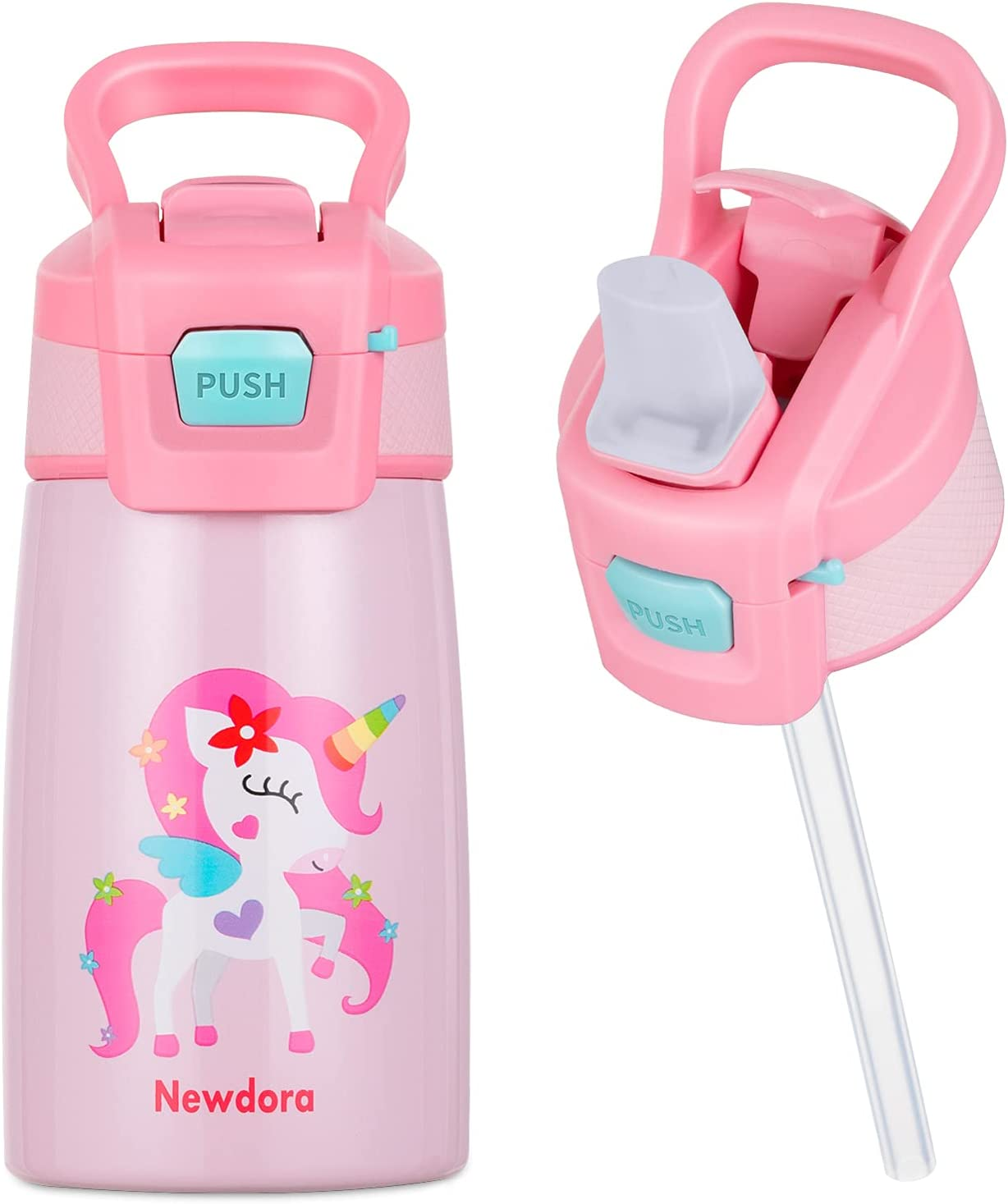 Newdora Botella de Agua para Niños, 350ml Botella Termica a Prueba de Fugas, Termo con Pajitas, Acero Inoxidable de Doble Pared al Vacio