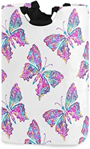 AGONA Watercolor Butterflies Laundry Basket with Handles Large Storage Bin Collapsible Fabric Laundry Hamper Foldable Laundry Bag for Kids Room Toy Bins Gift Baskets Bedroom Baby Nursery