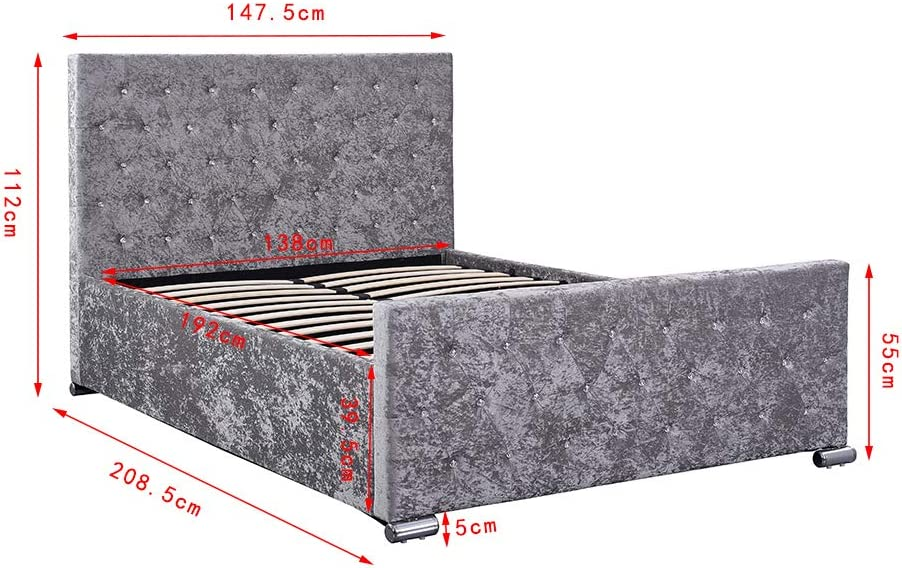 4FT6 DOUBLE UPHOLSTERED OTTOMAN DUAL GAS LIFT UNDER STORAGE BED IN SILVER