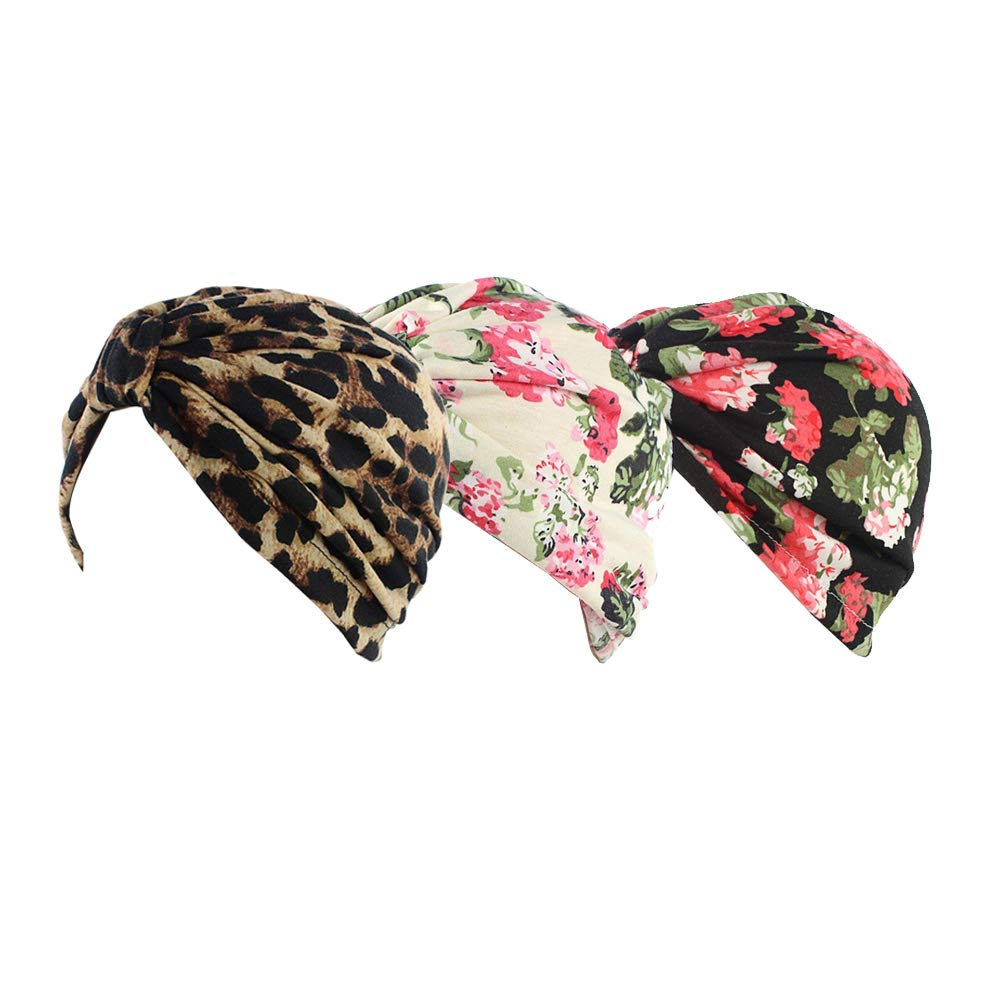 Ever Fairy® Womens Floral Print Cotton Turban Chemo Sleep Cap,Turban Hat Cap Hair Wrap W6