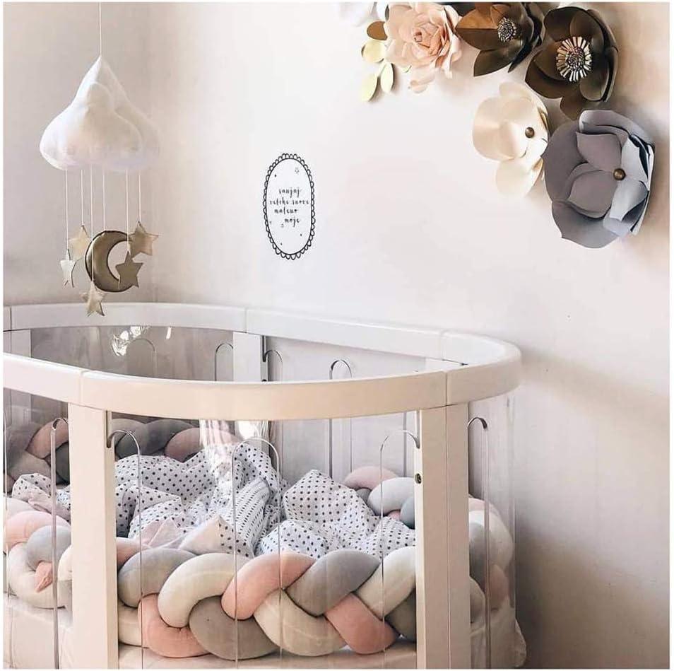 LWQKA Wanguo Braid Pillow Baby Crib Bumper Cushion Plush Knot Pillow Babys Room Decoration 4 Colors,A,2m