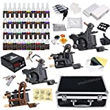Professional Complete Tattoo Kit 4 Top Machine Gun 40 Color Ink 50 Needles Power Supply