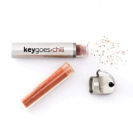 "KEYGOES:CHILI Llavero dispensador de chili de acero inoxidable | con dos ""MUY PICANTES"