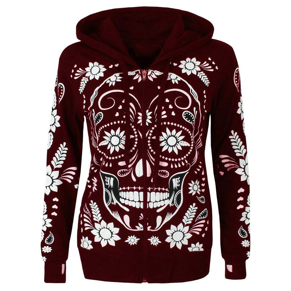 Shusuen ◈ Women Plus Size Long Sleeve Sweatshirt Skull Print Zipper Hooded Blouse Tops Shirt Print Plus Size Pullover Wine Red by Shusuen_Clothes