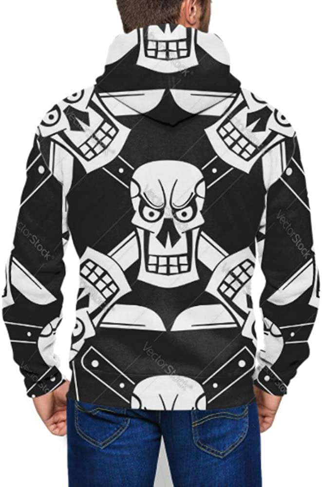 Long Sleeve Hoodie Print Grunge with Skulls Jacket Zipper Coat Fashion Mens Sweatshirt Full-Zip S-3xl