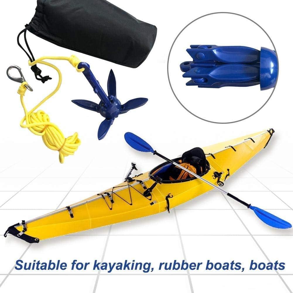 ISURE MARINE Kayak Anchor Kits Portable Folding Anchor Buoy Kit Canoe Kayak Raft Boat Sailboat Fishing with 16.4 ft Marine Rope Complete Folding Grapnel Anchor Kit for Small Boats Kayaks Etc