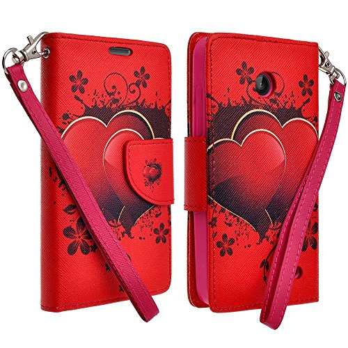 Fiber Carbon Snap Heart (Customerfirst - Flip Wallet Pouch, Slim Folio Case with Kickstand, 2 Credit Card Slot Wallet Pouch Leather Wallet Folio Case With Kickstand, Credit Card ID Slots, Currency Pocket, Hand Strap For LG Optimus L90 T-Mobile D415 (CUPID HEARTS))