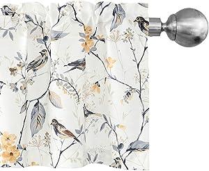 Leeva Birds Vines Printed Semi-Blackout Curtains Valances for Kitchen Bath Laundry Bedroom Living Room, Rod Pocket Valance for Windows, 52 x 18 Inch, Grey Birds