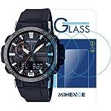 (3枚) For CASIO 腕時計 (カシオ) PRW-60 保護フィルム,MIHENCE 9H ガラス保護フィルム 対応 ガーミン PRW-60Y Smartwatchスマート腕時計 2.5Dラウンドエッジ ウォッチ指紋防止保護膜