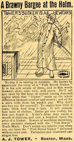 1890-ad-a-j-tower-brawny-bargee-helm-fish-brand-slicker-raincoat-boston-mass-original-print-ad