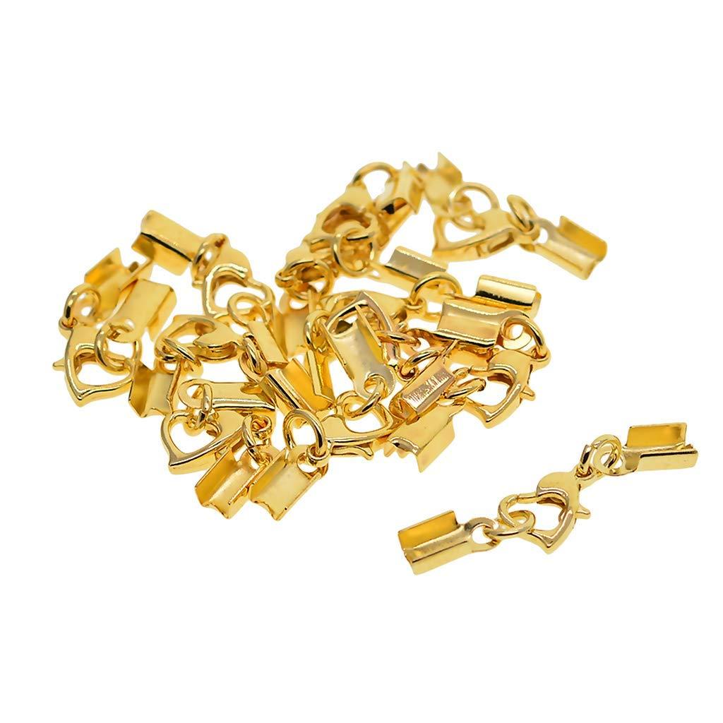 Gold Fityle 12 Sets Lobster Clasps Fold Over Crimp End Caps for Bracelet Connectors DIY
