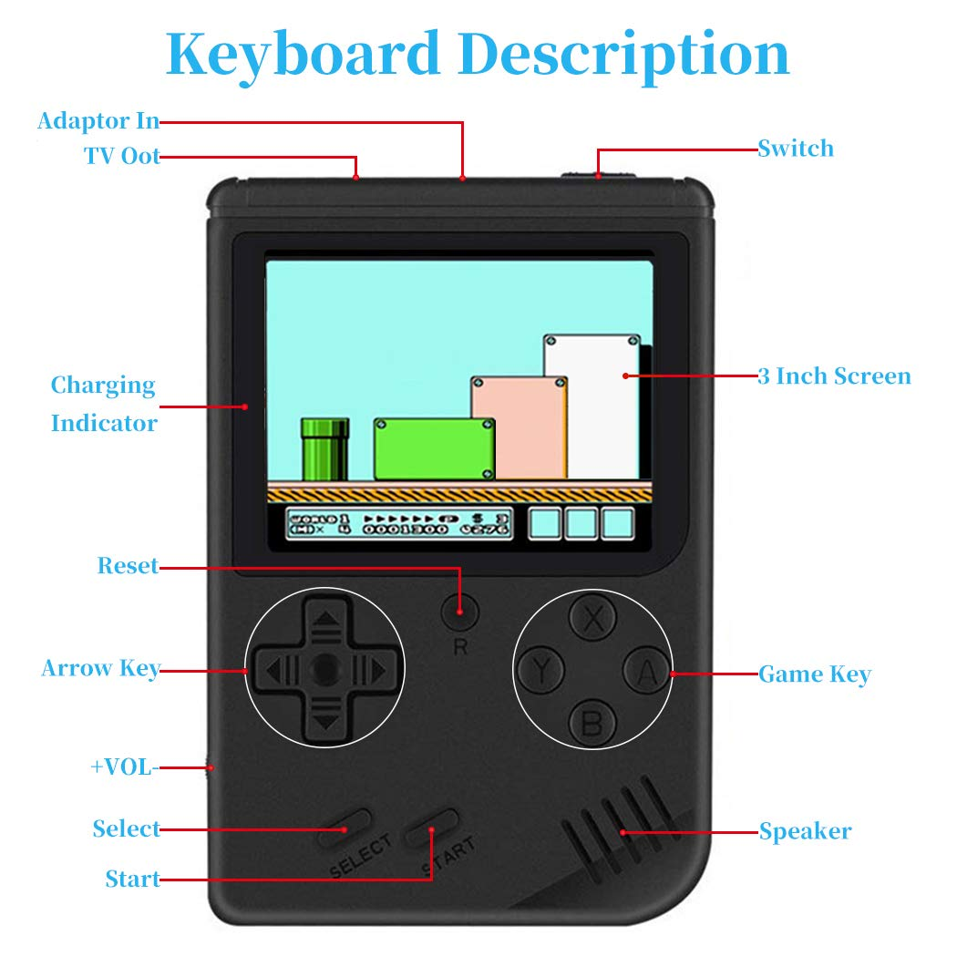 MyArTool Retro FC Handheld Game Console, Built-in Up to 168 8bit Classic Games 3 Inch LCD Screen Portable Video Game Consoles Synchronize with TV and Support for Two Players by MyArTool (Image #6)