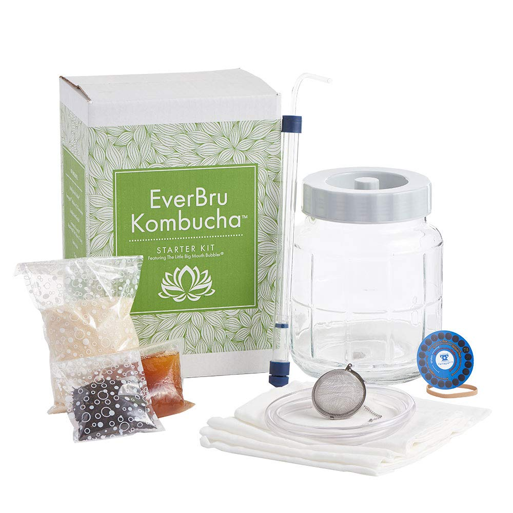 Everbru Kombucha Brewing Starter Kit With Scoby & Glass Fermenter Jar Equipment For Making 1 Gallon Batches At Home