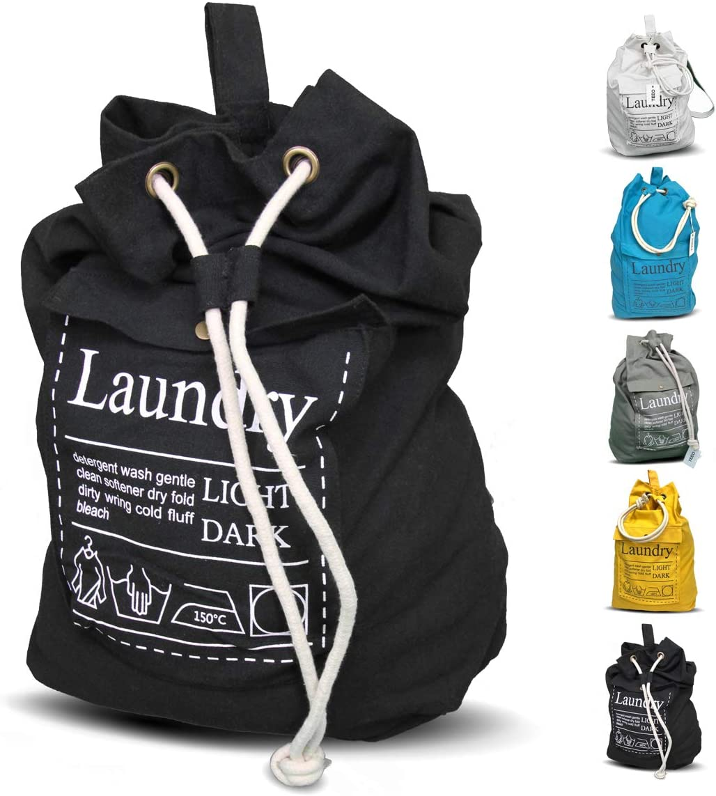 """Teeo Laundry Bag Backpack Large Spacious 25""""X20"""" Drawstring 100% Sturdy Cotton Canvas with Strap for College Students Dorm Room Clothes Hamper Storage Washer Organizer (Black)"""