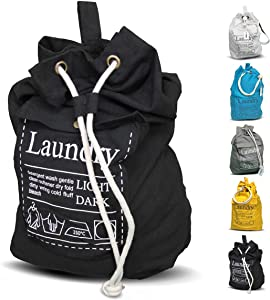 "Teeo Laundry Bag Backpack Large Spacious 25""X20"" Drawstring 100% Sturdy Cotton Canvas with Strap for College Students Dorm Room Clothes Hamper Storage Washer Organizer (Black)"