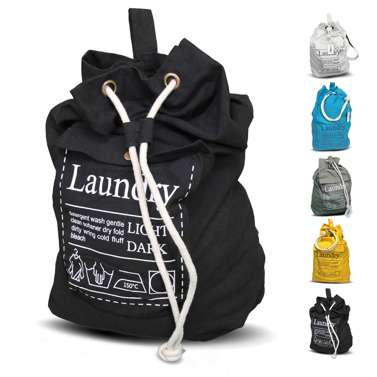 LAUNDRY BAG Backpack Large Spacious 25''X22'' Drawstring 100% Sturdy Cotton Canvas with Strap for College Students Dorm Room Clothes Hamper Storage Washer Organizer (Black)