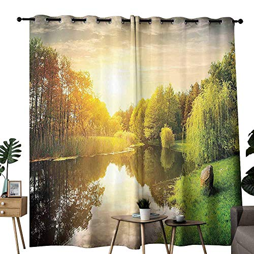 Mannwarehouse Lake House Decor Collection Polyester Curtain Sunset Over Calm River Grass Willow Trees Grass Rocks Reflection Light Clouds 70%-80% Light Shading, 2 Panels,W120 x L84 Green Blue White