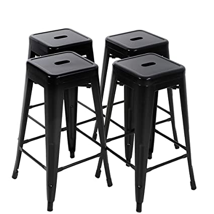 Stupendous Fdw Bar Stools Metal Counter Height 30 Industrial Stackable Modern Backless Indoor Outdoor Kitchen Seat Dining Chairs Set Of 4 Ncnpc Chair Design For Home Ncnpcorg
