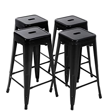 Stupendous Fdw Bar Stools Set Of 4 Counter Stool Metal Bar Stools 30 Inches Height Industrial Bar Chairs Patio Stool Stackable Modern Backless Indoor Outdoor Gamerscity Chair Design For Home Gamerscityorg