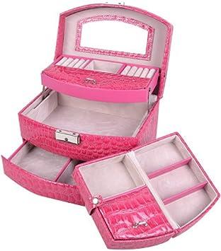 Estuche de Maquillaje Joyero Joyero automático 3 Capas de Cuero en Forma de Abanico Impermeable portátil de Gran Capacidad Rosa 22 * 17 * 14 cm: Amazon.es: Equipaje