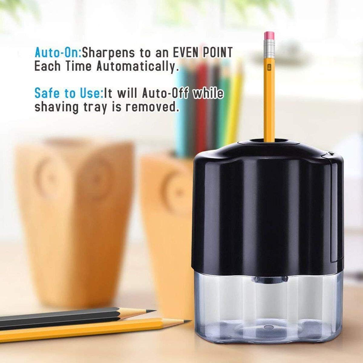 Automatic Electrical Sharpener for NO.2 Pencils and Colored Pencils,Portable Electric Sharpener by CNASA (Image #7)