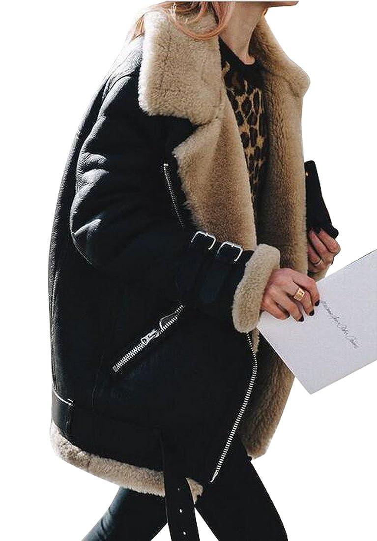 1f5e18be196ec Amazon.com  Fensajomon Womens Winter Plus Size Suede Faux Fur Lined Moto  Biker Coat Jackets  Clothing