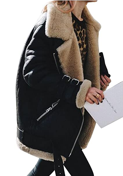 839d1e0f0 Fensajomon Womens Winter Plus Size Suede Faux Fur Lined Moto Biker Coat  Jackets