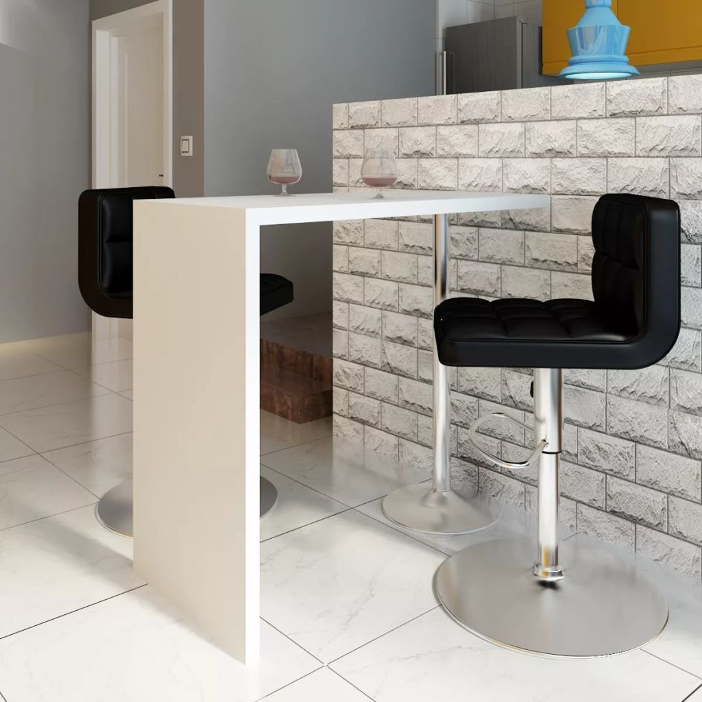 Tidyard Modern High Gloss Bar Table, Breakfast Dining Table Kitchen Furniture MDF with 1 Steel Leg White by Tidyard