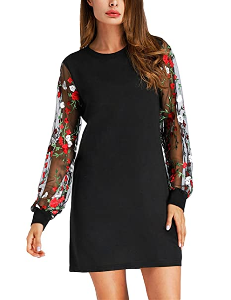 d2308d3a608c Embroidered Hollow Printing Long Sleeve Pullover Elegant Black Casual Dress  for Women