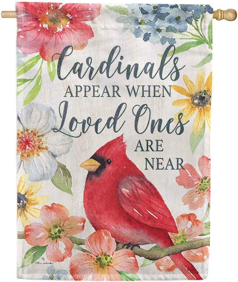 Custom Decor Cardinals Appear When Loved Ones are Near - Standard Size, 28 x 40 Inch, Decorative Double Sided, Licensed and Copyrighted Flag, Printed in The USA