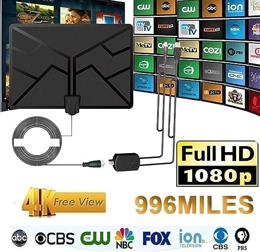 Besthuer Antena de TV Interior, 130 Millas Antena Digital HDTV amplificada Antena Arial 4K 4KP HD VHF UHF para Canales Locales con Amplificador de señal Compatible con Todos los televisores: Amazon.es: Hogar