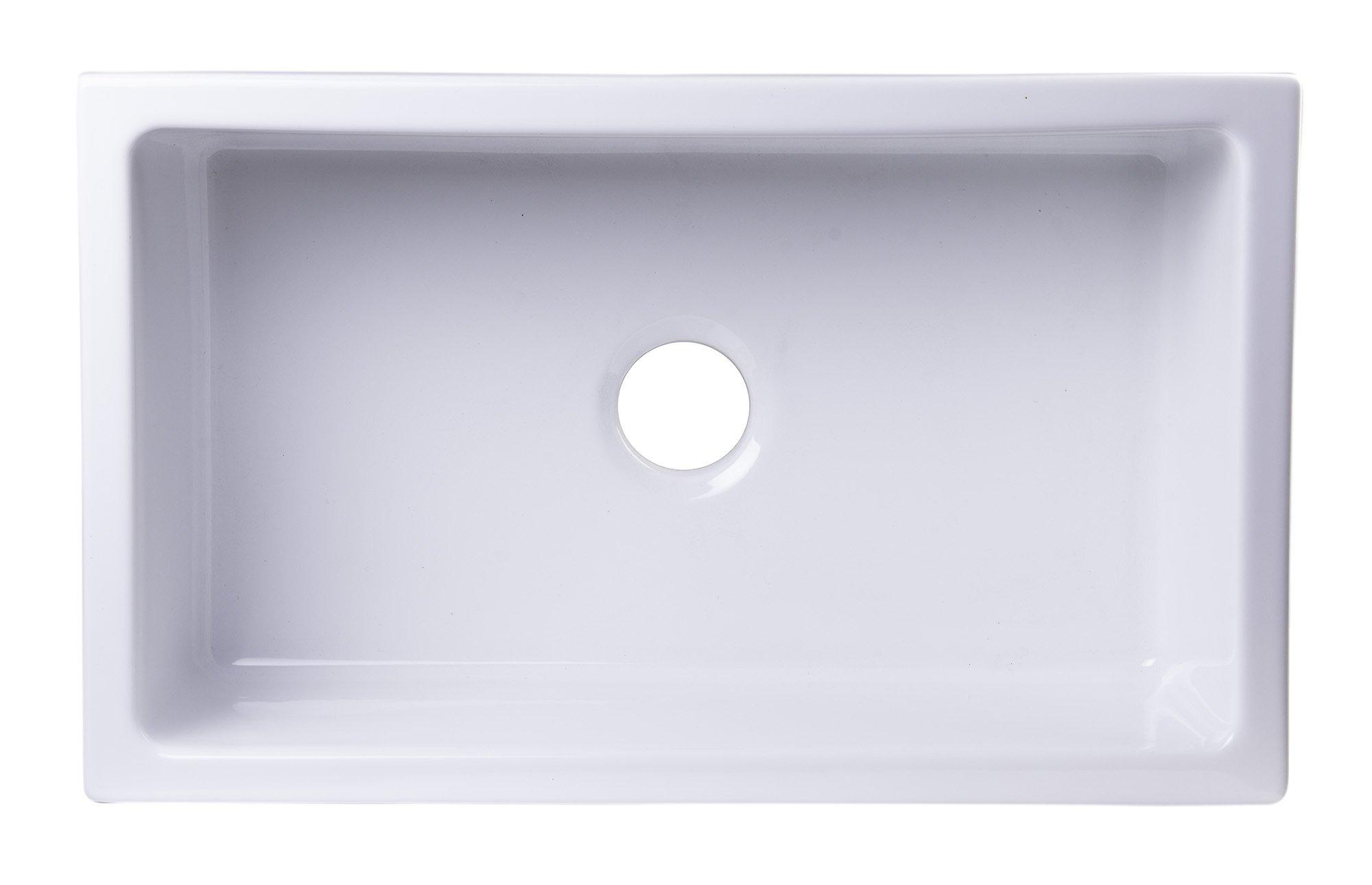 ALFI brand AB3018UM-W 30'' x 18'' Undermount White Fireclay Kitchen Sink
