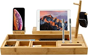 NOZE Bamboo Desktop Organizer for Home & Office, Including Base Tray, Pen Holder, Phone Stand, Paperclip Storage Caddy and Rack Tree, Natural