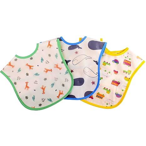 Gudotra 3 piezas Baberos Infantiles Disferente Color Impermeables Material PEVA Fácil de Lavar per Niños Niña