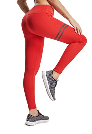 FITTOO Legging de Sport Femme Pantalon Yoga Athlétique Taille Haute Rayé  Bande latérale Collant Elastique pour 20fcd58054b
