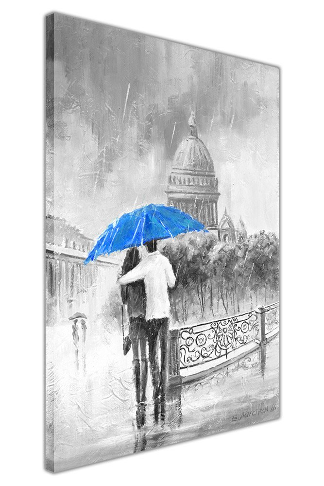 Black and White Romantic Couple On Bridge Holding Blue Umbrella on Framed Canvas Pictures Oil Painting Re-print Wall Art SIZE: A4 - 12