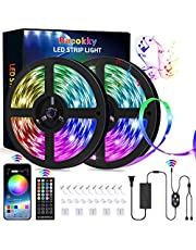 Racokky LED-remsa, 20 m RGB, 44 knappar IR-fjärrkontroll, appkontroll, musiksynkronisering, färgskiftande ljusremsor för dekor, kök, bar, fest, TV och sovrum